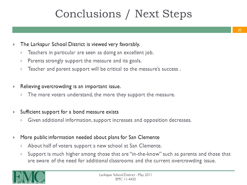 25 Conclusions / Next Steps The Larkspur School District is viewed very favorably.