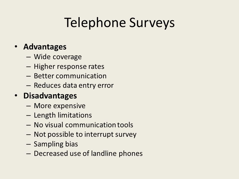 Telephone Surveys Advantages – Wide coverage – Higher response rates – Better communication – Reduces data entry error Disadvantages – More expensive – Length limitations – No visual communication tools – Not possible to interrupt survey – Sampling bias – Decreased use of landline phones