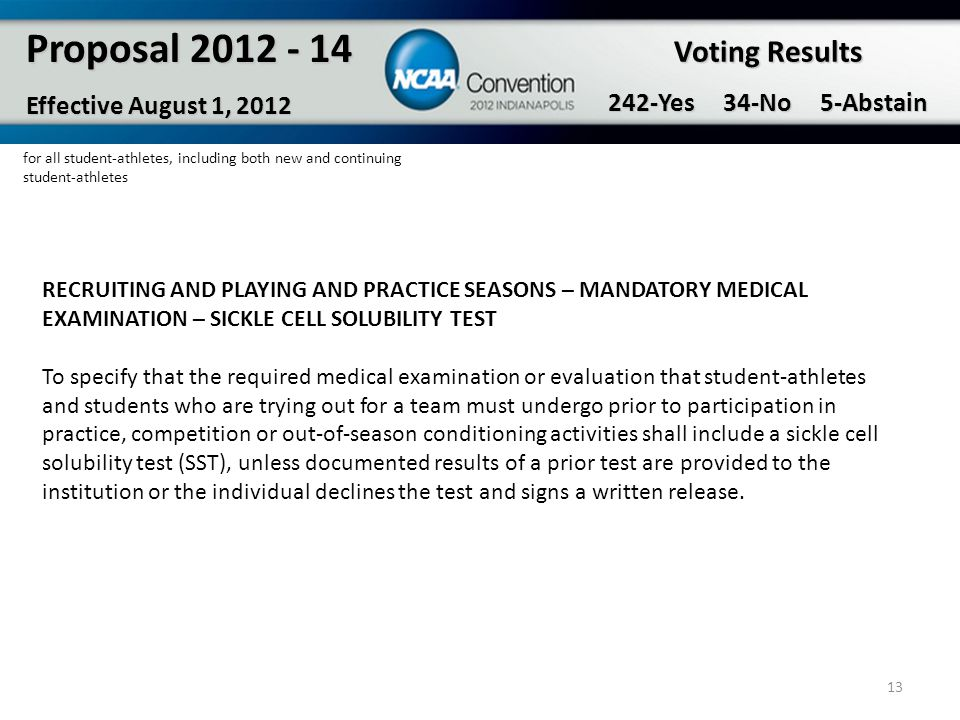 13 Proposal 2012 - 14 Effective August 1, 2012 Voting Results 242-Yes 34-No 5-Abstain RECRUITING AND PLAYING AND PRACTICE SEASONS – MANDATORY MEDICAL