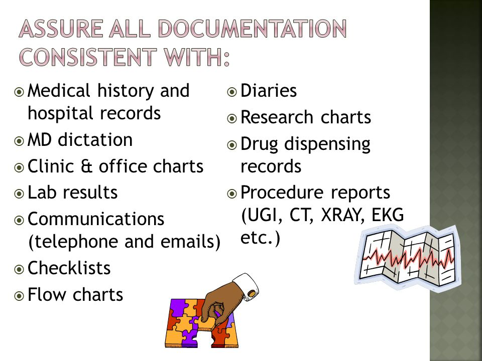 Medical history and hospital records MD dictation Clinic & office charts Lab results Communications (telephone and emails) Checklists Flow charts Diar