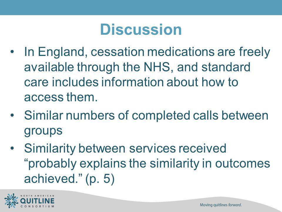 Discussion In England, cessation medications are freely available through the NHS, and standard care includes information about how to access them. Si