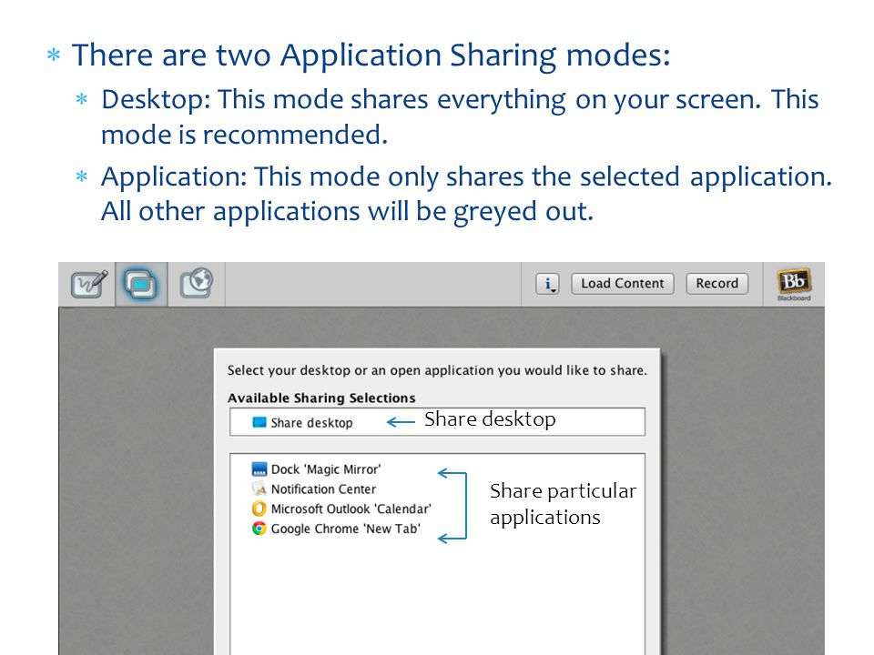 There are two Application Sharing modes: Desktop: This mode shares everything on your screen.