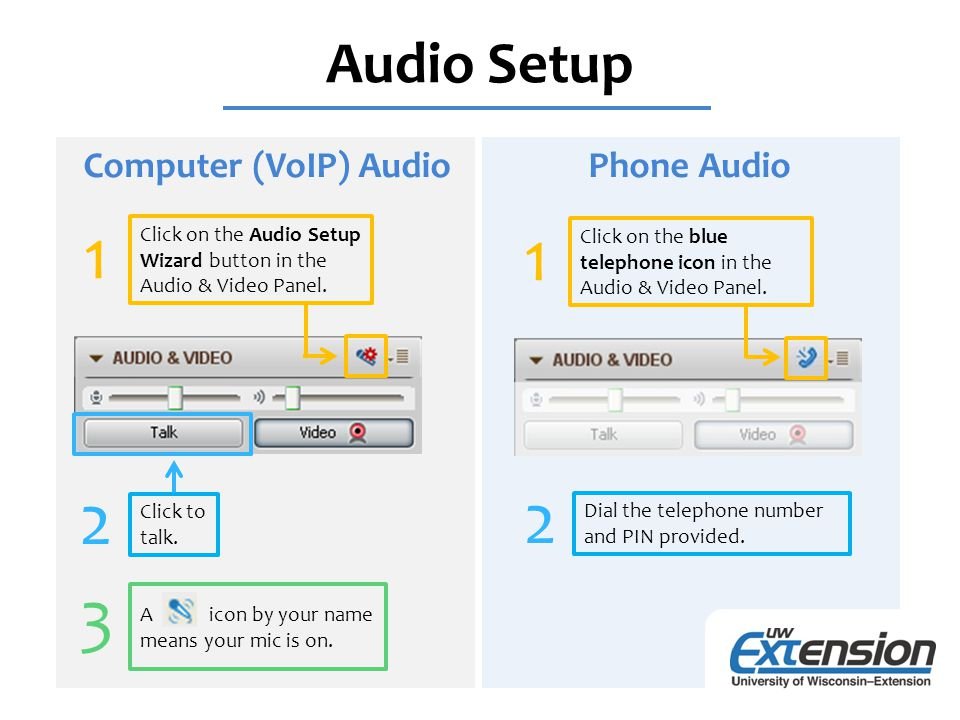 Webcam VoIP and Video Audio Setup Wizard VoIP Audio & Video Panel