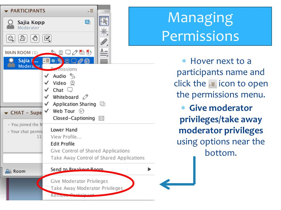 Managing Permissions Hover next to a participants name and click the icon to open the permissions menu.