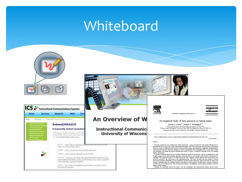 The Whiteboard is where PowerPoint slides are shared in Blackboard Collaborate.