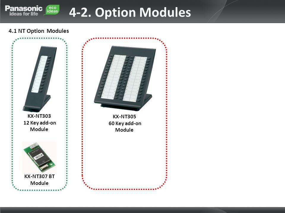 KX-NT303 12 Key add-on Module KX-NT307 BT Module KX-NT305 60 Key add-on Module 4-2. Option Modules 4.1 NT Option Modules