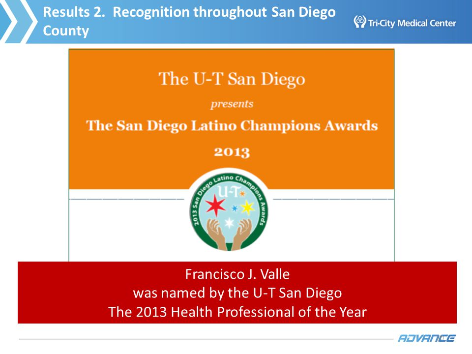 20 Francisco J. Valle was named by the U-T San Diego The 2013 Health Professional of the Year Results 2. Recognition throughout San Diego County