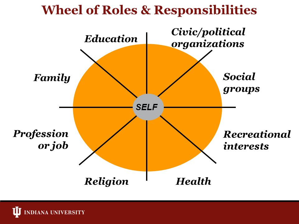 Wheel of Roles & Responsibilities SELF Religion Profession or job Family Education Civic/political organizations Social groups Recreational interests Health