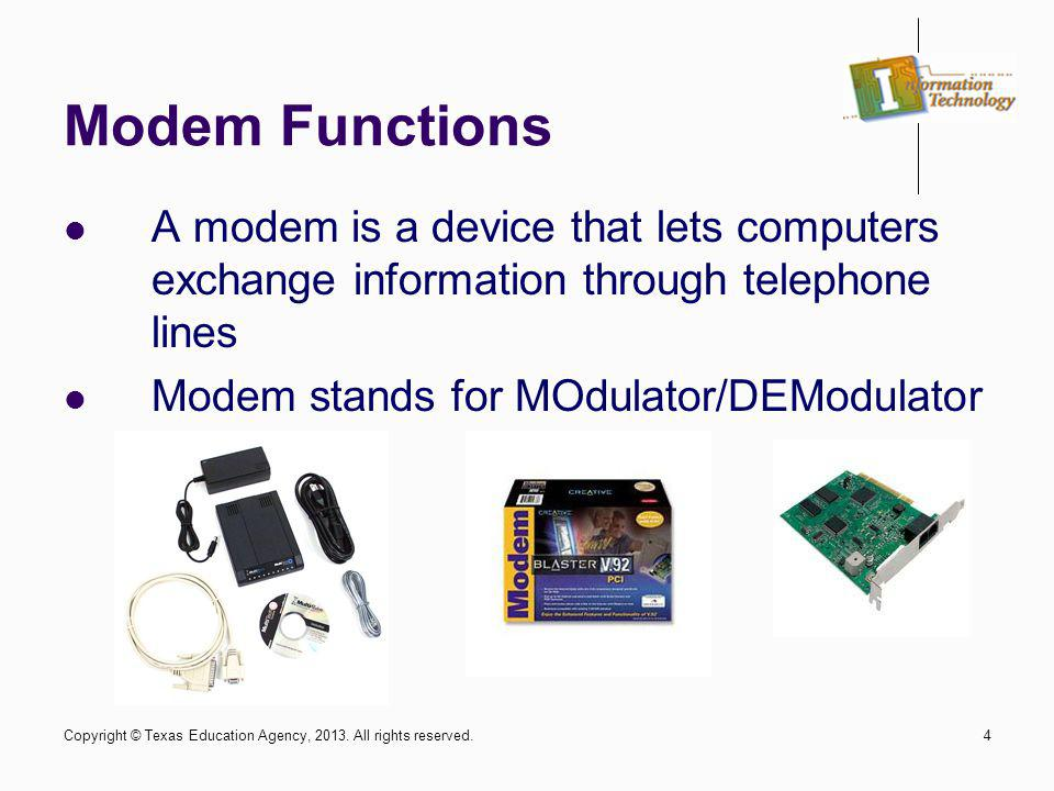 4 Modem Functions A modem is a device that lets computers exchange information through telephone lines Modem stands for MOdulator/DEModulator Copyrigh