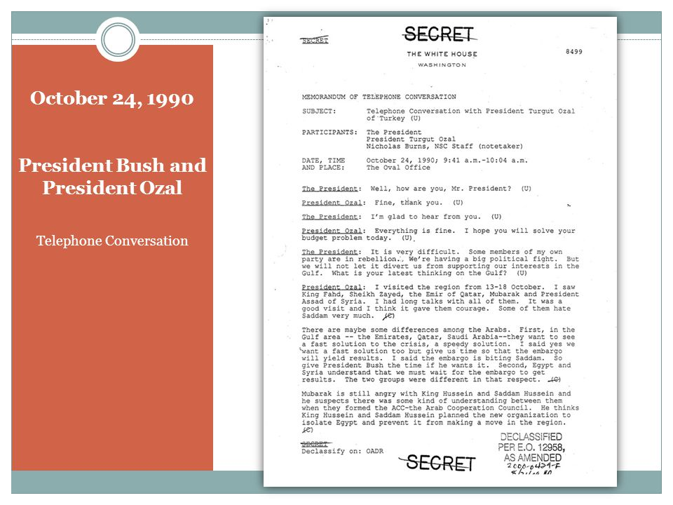 October 24, 1990 President Bush and President Ozal Telephone Conversation