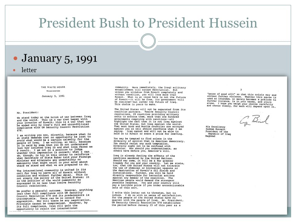 President Bush to President Hussein January 5, 1991 letter