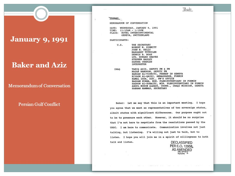 January 9, 1991 Baker and Aziz Memorandum of Conversation Persian Gulf Conflict