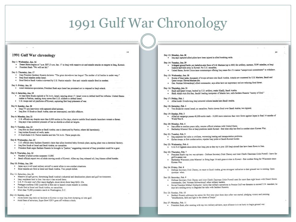 1991 Gulf War Chronology