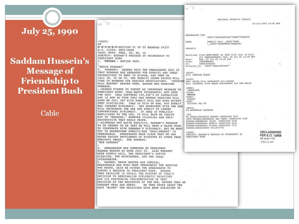 August 2, 1990 President Bush, King Hussein, & President Mubarak Telephone Conversation Press Release (Group 2)