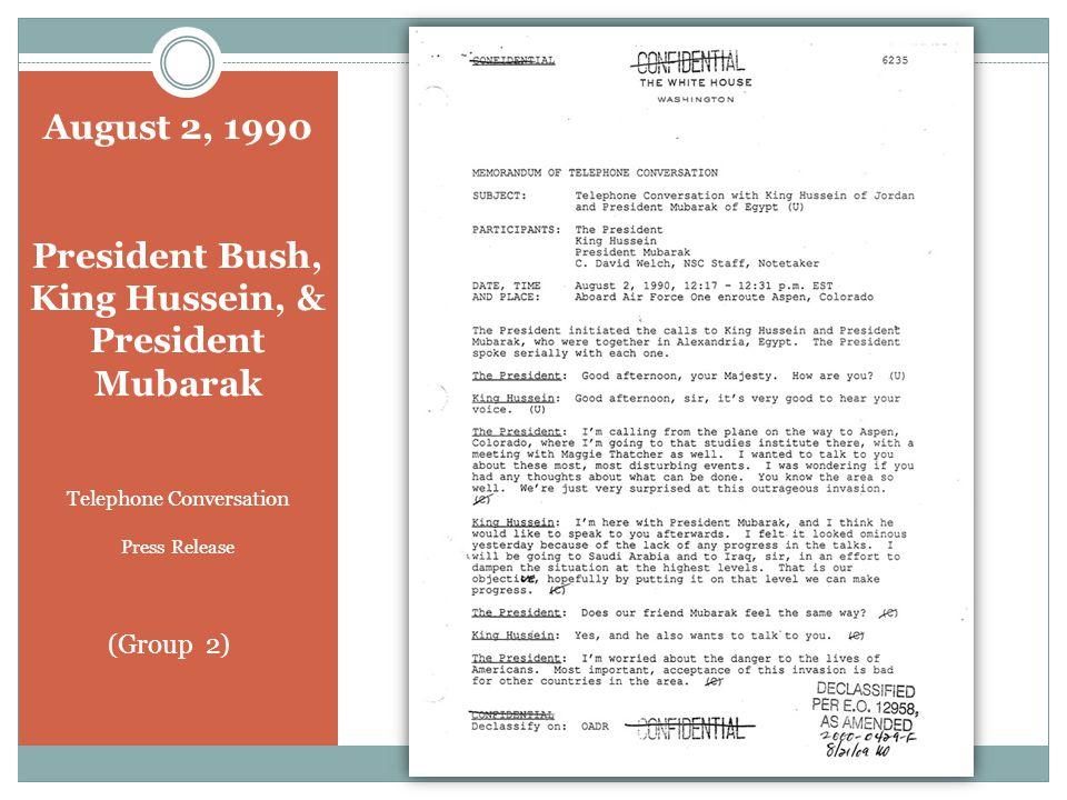 October 24, 1990 President Bush and President Ozal Telephone Conversation