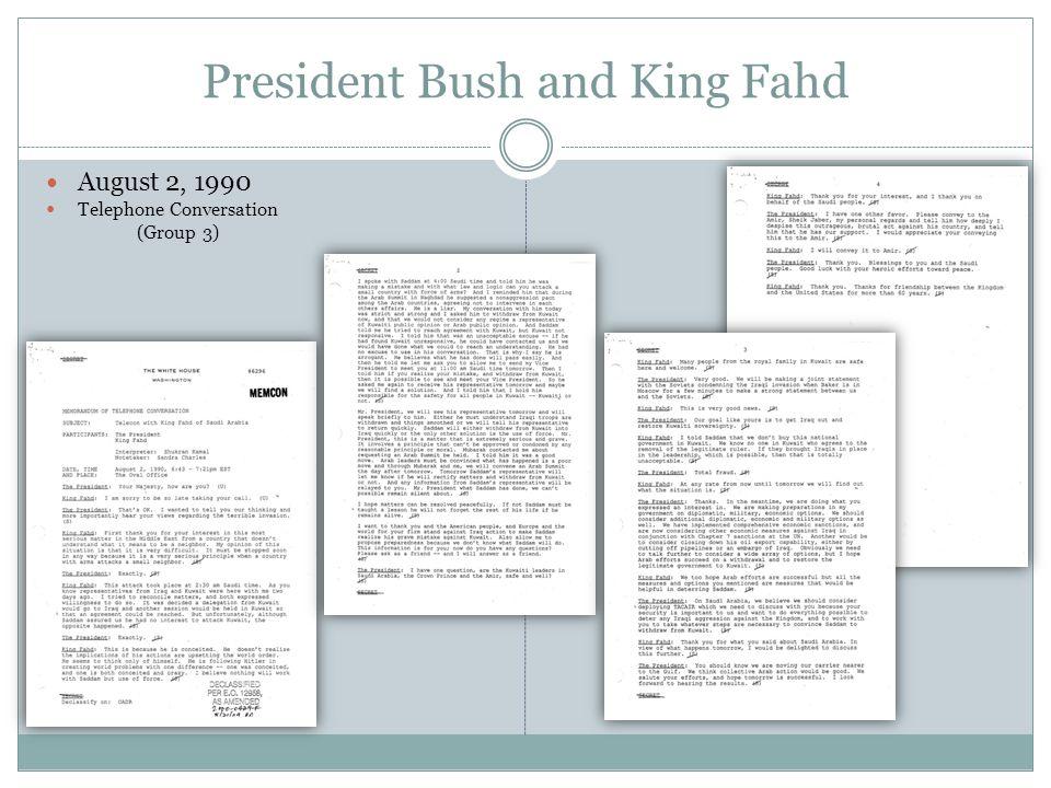 August 3, 1990 President Bush and President Mitterrand Telephone Conversation