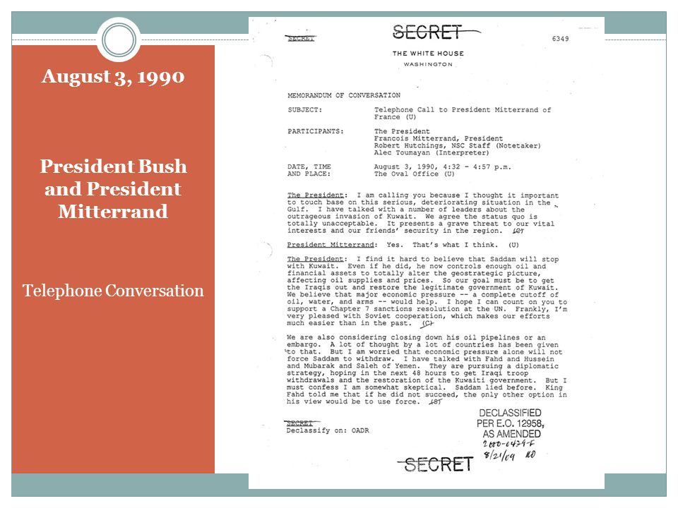August 5, 1990 President Bush and Prime Minister Mulroney Telephone Conversation