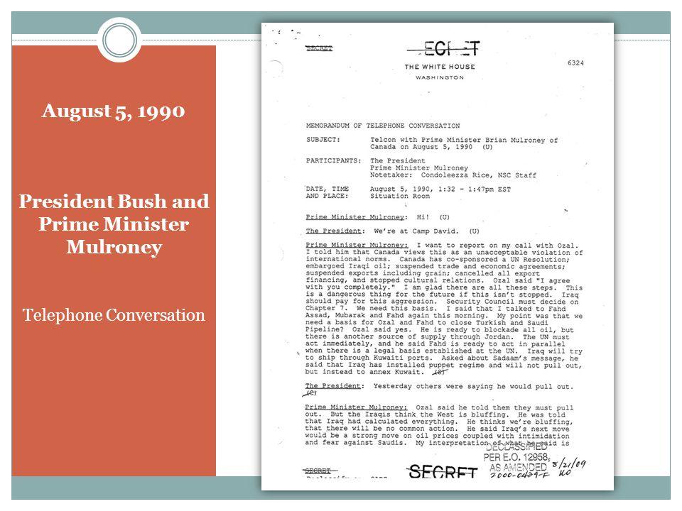 August 7, 1990 President Bush and President Mubarak Telephone Conversation