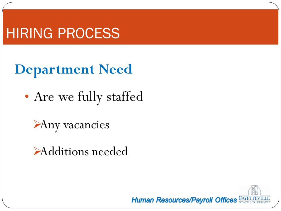 HIRING PROCESS Department Need Are we fully staffed Any vacancies Additions needed