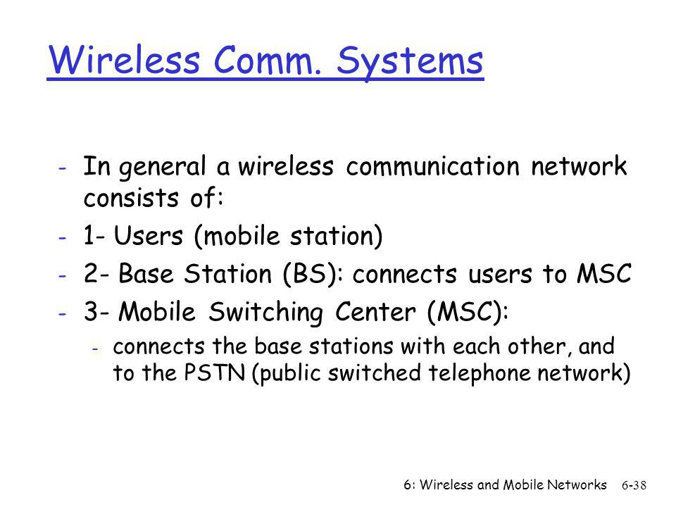 6: Wireless and Mobile Networks6-38 Wireless Comm. Systems - In general a wireless communication network consists of: - 1- Users (mobile station) - 2-