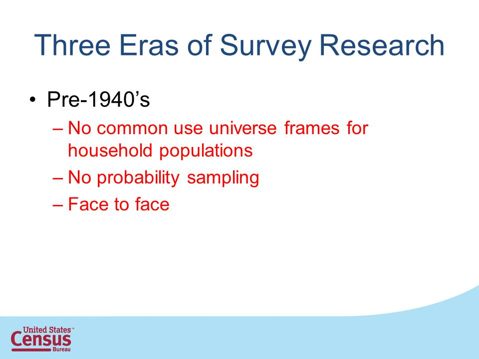Three Eras of Survey Research Pre-1940s –No common use universe frames for household populations –No probability sampling –Face to face
