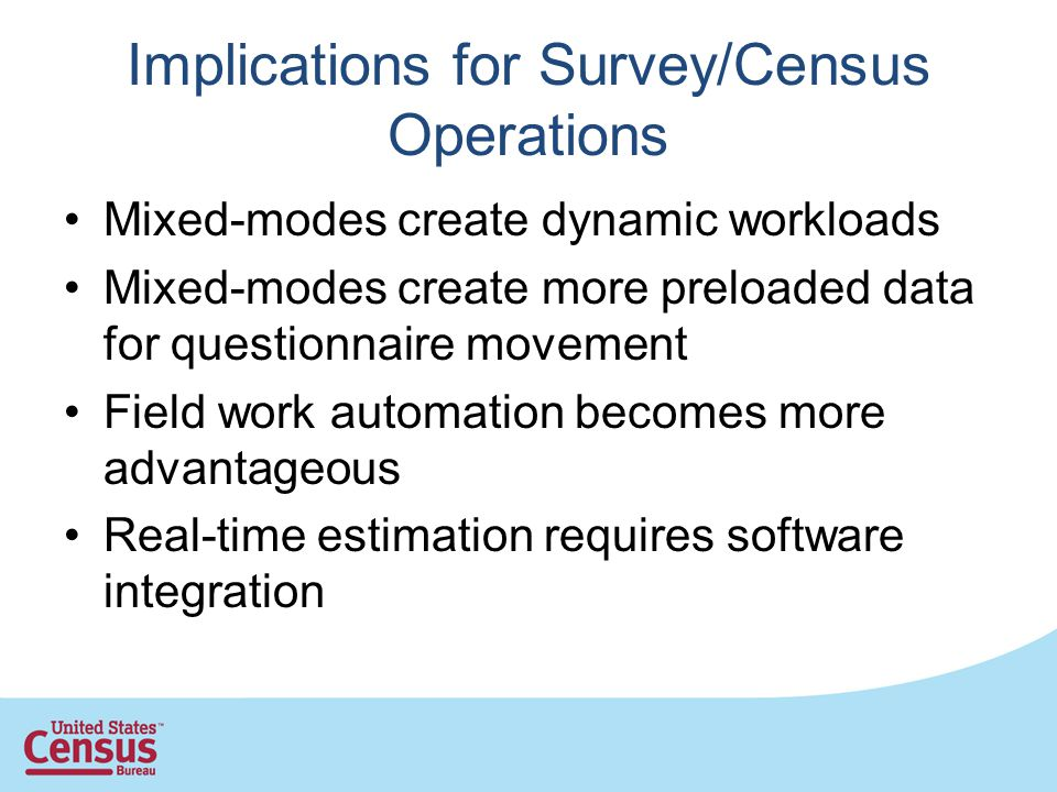 Implications for Survey/Census Operations Mixed-modes create dynamic workloads Mixed-modes create more preloaded data for questionnaire movement Field work automation becomes more advantageous Real-time estimation requires software integration