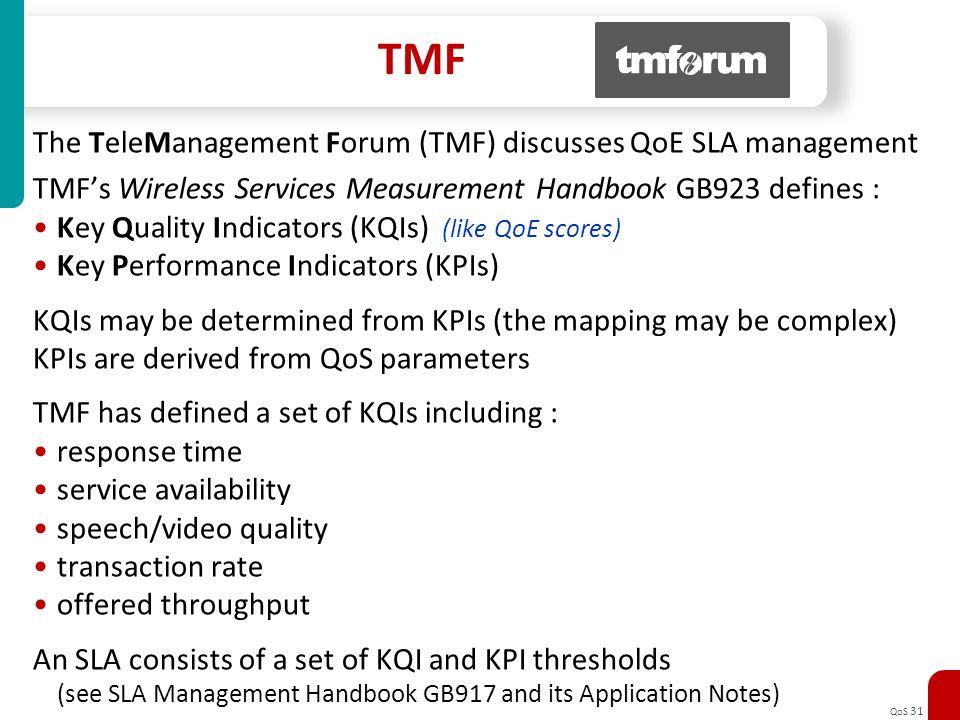 QoS 31 TMF The TeleManagement Forum (TMF) discusses QoE SLA management TMFs Wireless Services Measurement Handbook GB923 defines : Key Quality Indicat
