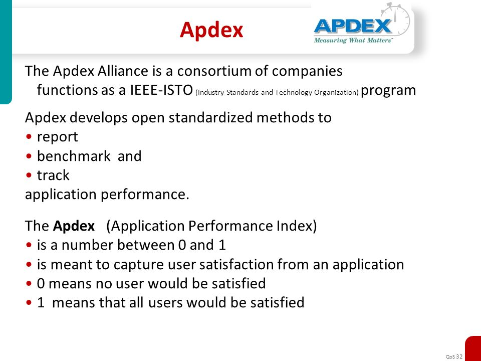 QoS 32 Apdex The Apdex Alliance is a consortium of companies functions as a IEEE-ISTO (Industry Standards and Technology Organization) program Apdex d