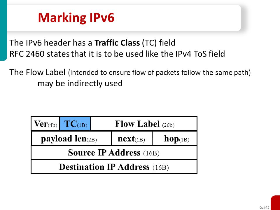QoS 45 Marking IPv6 The IPv6 header has a Traffic Class (TC) field RFC 2460 states that it is to be used like the IPv4 ToS field The Flow Label (inten