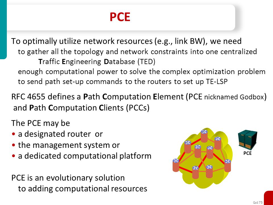 QoS 75 PCE To optimally utilize network resources (e.g., link BW), we need to gather all the topology and network constraints into one centralized Tra