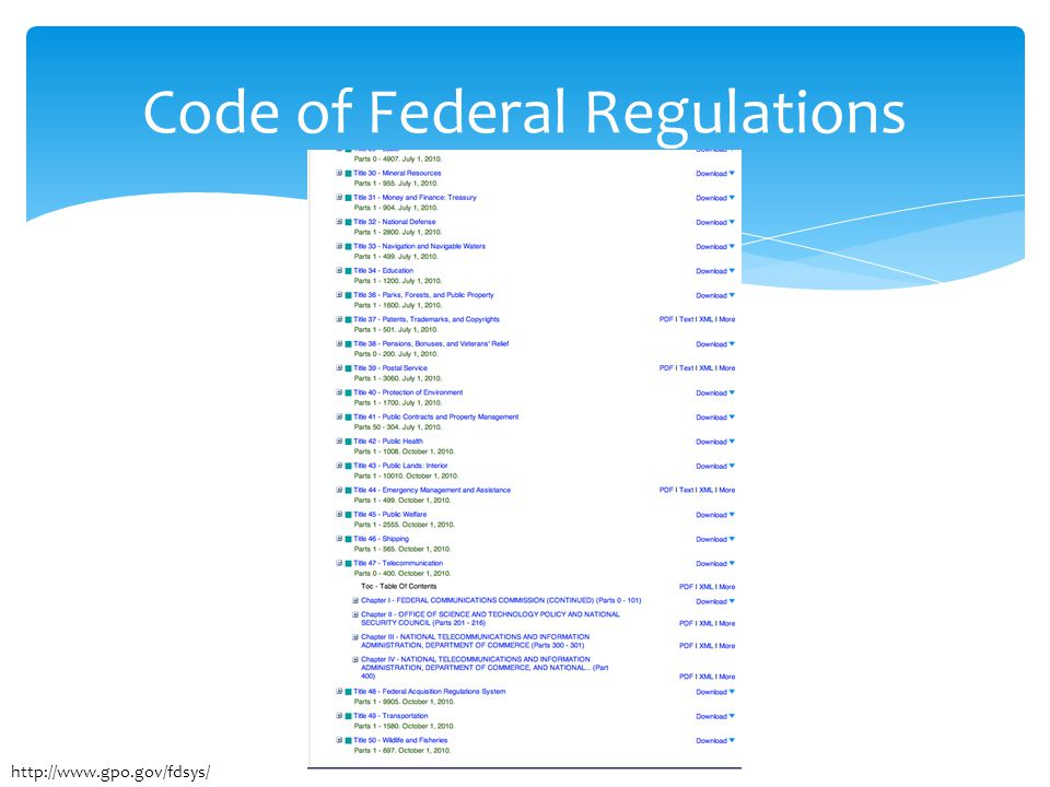 Code of Federal Regulations http://www.gpo.gov/fdsys/