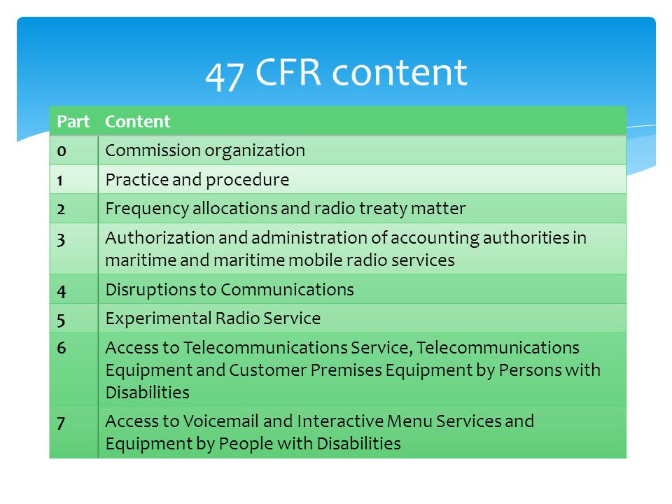47 CFR content PartContent 0Commission organization 1Practice and procedure 2Frequency allocations and radio treaty matter 3Authorization and administ