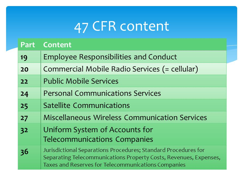 47 CFR content PartContent 19Employee Responsibilities and Conduct 20Commercial Mobile Radio Services (= cellular) 22Public Mobile Services 24Personal