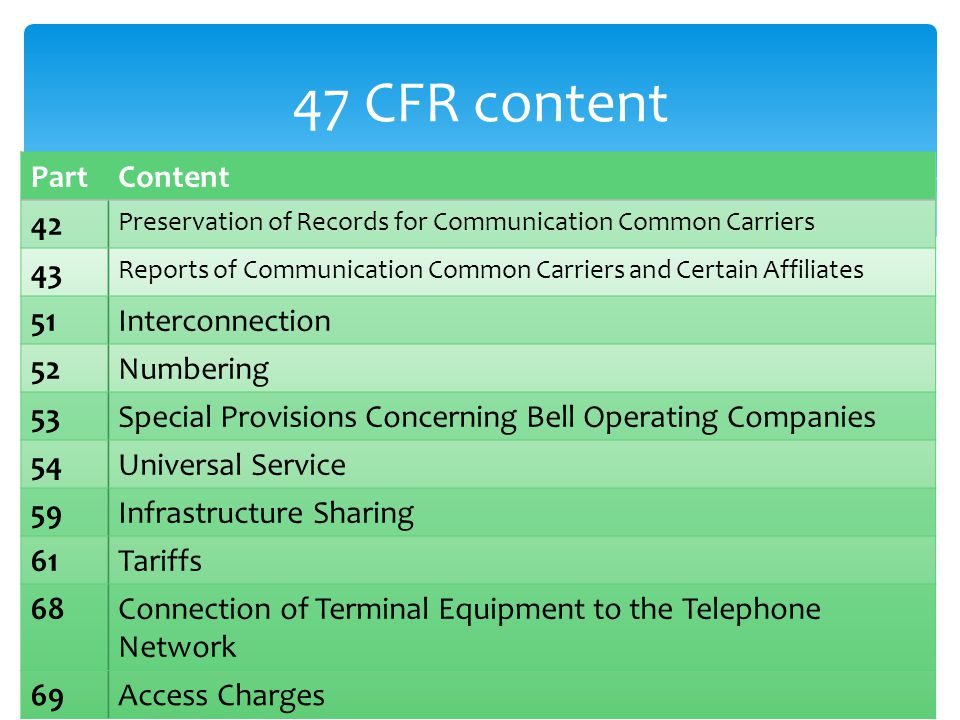 47 CFR content PartContent 42 Preservation of Records for Communication Common Carriers 43 Reports of Communication Common Carriers and Certain Affili