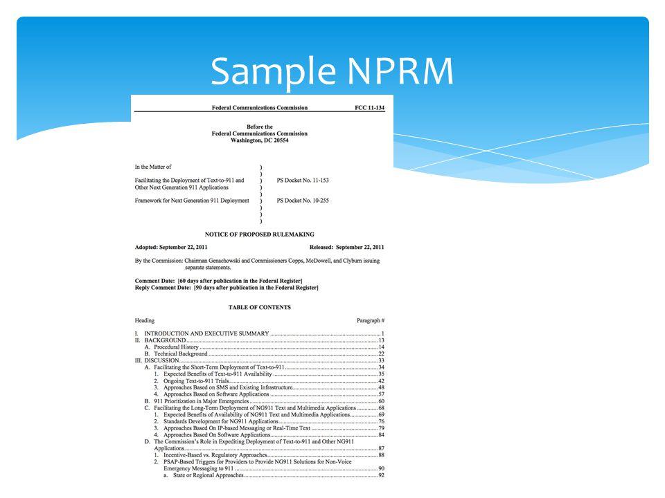 Sample NPRM