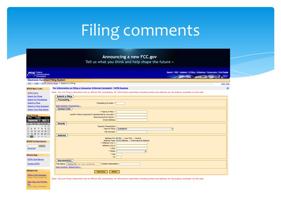 Filing comments