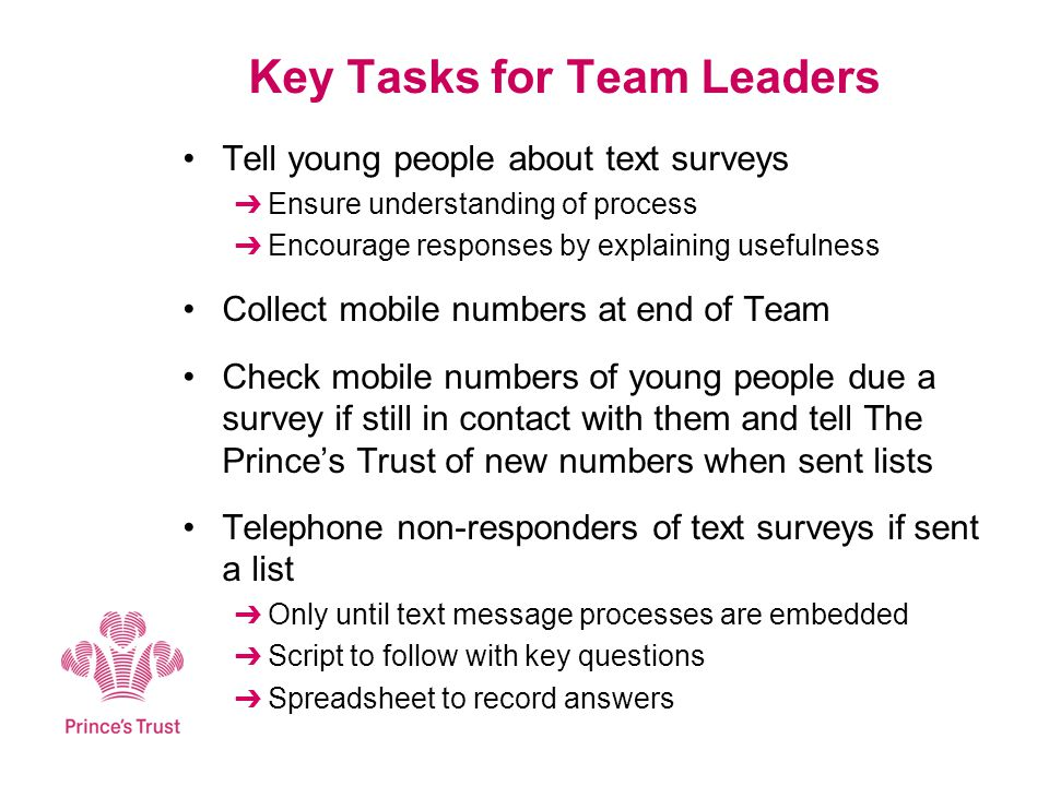 Key Tasks for Team Leaders Tell young people about text surveys Ensure understanding of process Encourage responses by explaining usefulness Collect mobile numbers at end of Team Check mobile numbers of young people due a survey if still in contact with them and tell The Princes Trust of new numbers when sent lists Telephone non-responders of text surveys if sent a list Only until text message processes are embedded Script to follow with key questions Spreadsheet to record answers