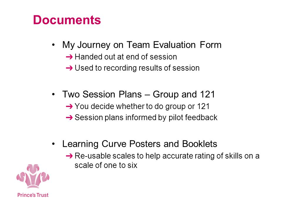 Documents My Journey on Team Evaluation Form Handed out at end of session Used to recording results of session Two Session Plans – Group and 121 You d