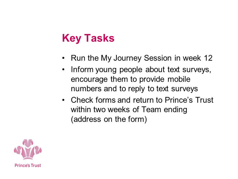 Key Tasks Run the My Journey Session in week 12 Inform young people about text surveys, encourage them to provide mobile numbers and to reply to text surveys Check forms and return to Princes Trust within two weeks of Team ending (address on the form)