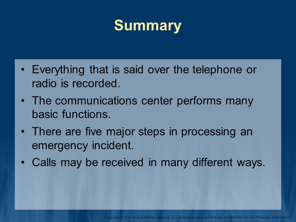 Summary Everything that is said over the telephone or radio is recorded.