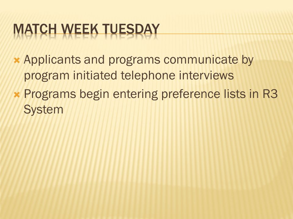 Applicants and programs communicate by program initiated telephone interviews Programs begin entering preference lists in R3 System