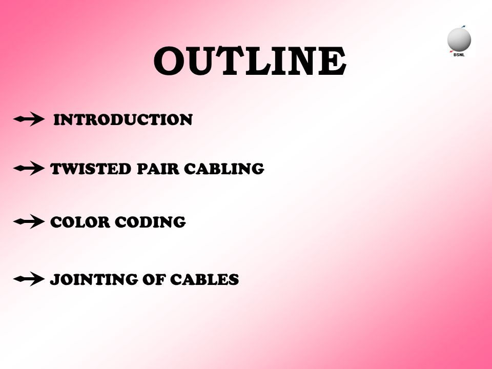 INTRODUCTION TWISTED PAIR CABLING COLOR CODING JOINTING OF CABLES OUTLINE