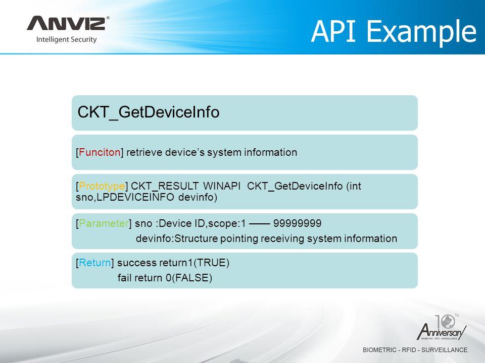CKT_GetDeviceInfo [Funciton] retrieve devices system information [Prototype] CKT_RESULT WINAPI CKT_GetDeviceInfo (int sno,LPDEVICEINFO devinfo) [Param