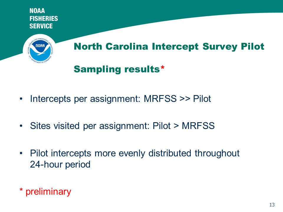 13 North Carolina Intercept Survey Pilot Sampling results* Intercepts per assignment: MRFSS >> Pilot Sites visited per assignment: Pilot > MRFSS Pilot intercepts more evenly distributed throughout 24-hour period * preliminary