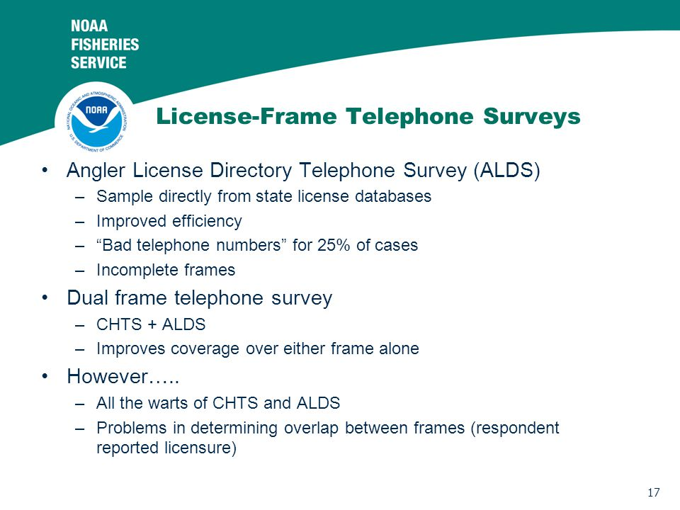 17 License-Frame Telephone Surveys Angler License Directory Telephone Survey (ALDS) –Sample directly from state license databases –Improved efficiency –Bad telephone numbers for 25% of cases –Incomplete frames Dual frame telephone survey –CHTS + ALDS –Improves coverage over either frame alone However…..