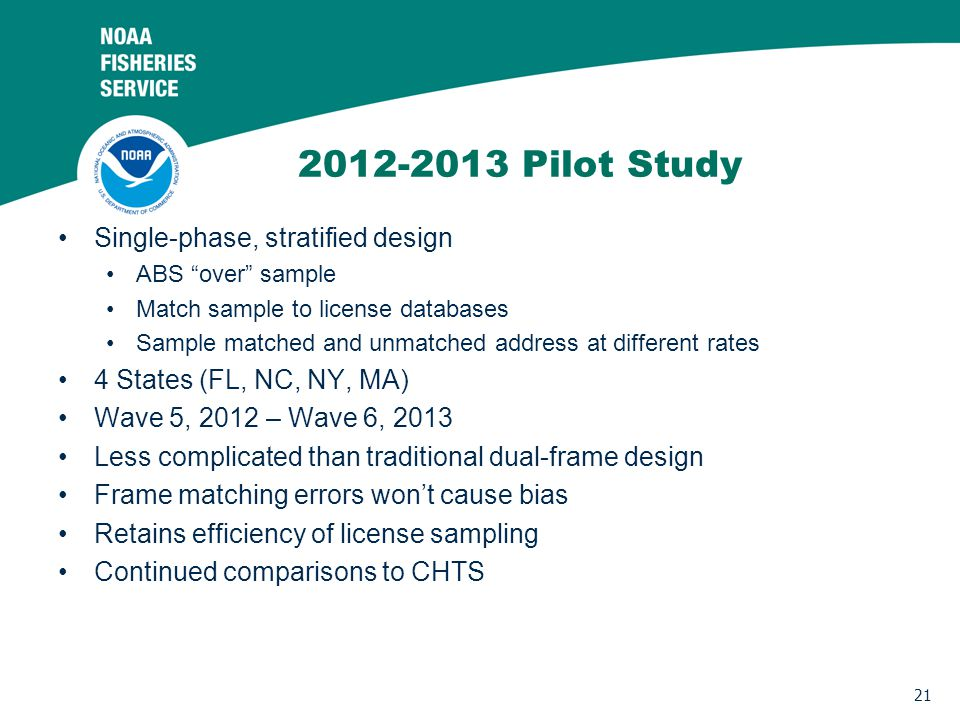 21 2012-2013 Pilot Study Single-phase, stratified design ABS over sample Match sample to license databases Sample matched and unmatched address at different rates 4 States (FL, NC, NY, MA) Wave 5, 2012 – Wave 6, 2013 Less complicated than traditional dual-frame design Frame matching errors wont cause bias Retains efficiency of license sampling Continued comparisons to CHTS