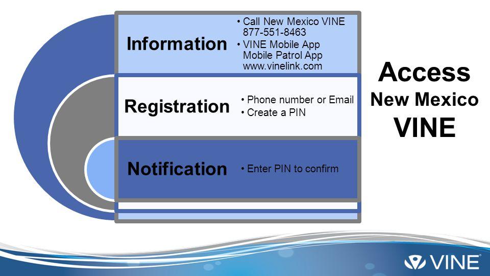 Information Registration Notification Call New Mexico VINE 877-551-8463 VINE Mobile App Mobile Patrol App www.vinelink.com Phone number or Email Creat