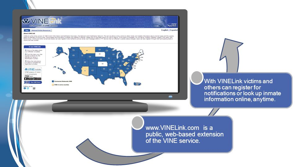 www.VINELink.com is a public, web-based extension of the VINE service. With VINELink victims and others can register for notifications or look up inma