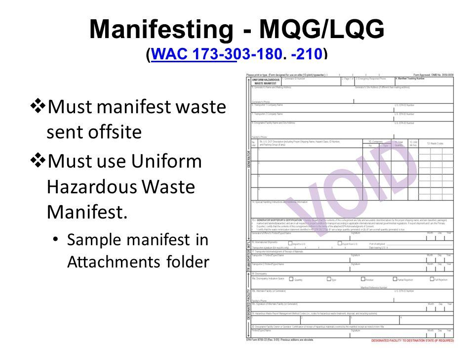 Manifesting - MQG/LQG (WAC 173-303-180, -210)WAC 173-303-180-210 Must manifest waste sent offsite Must use Uniform Hazardous Waste Manifest.
