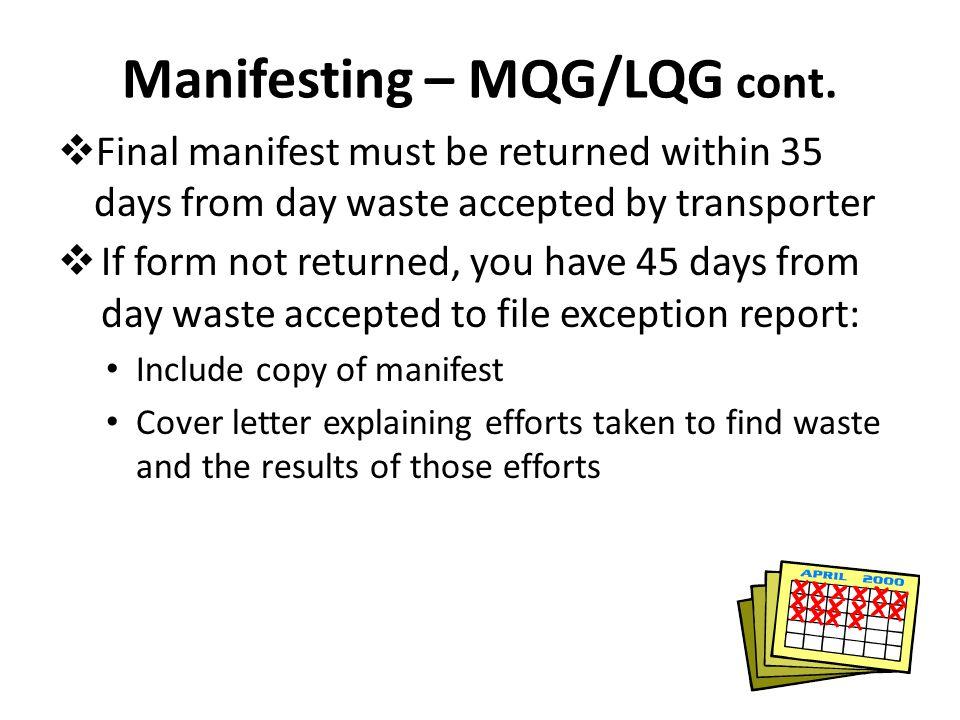 Manifesting – MQG/LQG cont.